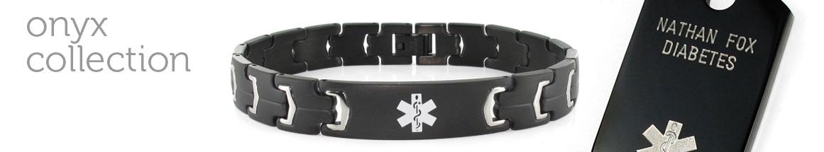 Black Medical ID Bracelets and Tags