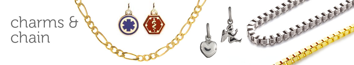 Medical Alert Accent Charm in Gold and Silver