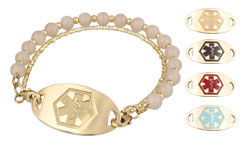 Gold Mingle Medical Bracelet on Sweetheart Bead Band