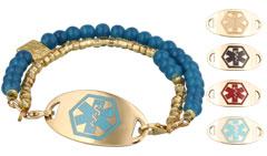 Gold Mingle Med Alert Bracelet on Madeira Bead Band