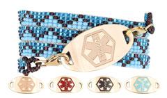 Gold Mingle on Azul Sky Bead Wrap Medical Bracelet