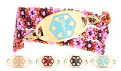 Gold Mingle on Geranium Sunrise Bead Wrap Medical ID