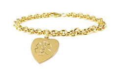 Gold/Gold-Filled Heart Charm Medical ID Bracelet