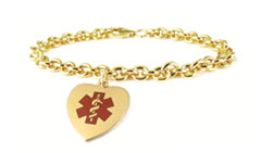 Gold/Gold-Filled Heart Charm Medical ID Bracelet Red