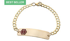 Gold / Gold-Filled Classic Red Medical Alert Bracelet