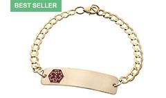 Gold / Gold-Filled Classic Red Medical Alert Bracelet