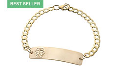 Gold/Gold-Filled Classic Medical Alert Bracelet With Medical Emblem