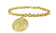 Gold/ Gold-Filled Medallion Charm Medical Alert Bracelet