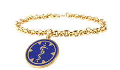 Gold/Gold-Filled Pendant Blue Charm 14Kt, 10Kt, 10Kt Gold-Filled, and Sterling Silver Medical ID Bracelet
