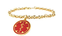 Gold / Gold-Filled Pendant Red Charm Medical Alert Bracelet