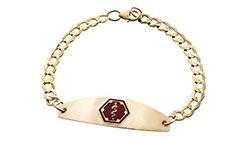 Gold/Gold-Filled Premier Medical ID Bracelet Red