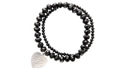 Allure Medical ID Charm Bracelet Embossed in Midnight Black