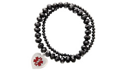 Allure Medical ID Charm Bracelet Red in Midnight Black