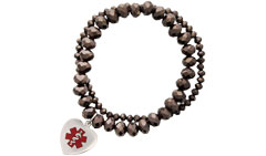 Allure Medical ID Charm Bracelet Red in Chocolate