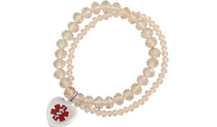 Allure Medical ID Charm Bracelet Red in Champagne