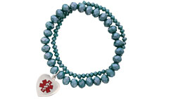 Allure Medical ID Charm Bracelet Red in Teal