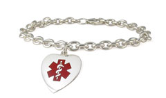 Sterling Silver Heart Red Charm Medical ID Bracelet