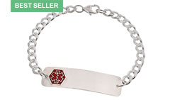 Sterling Silver Diabetes Red Medical ID Bracelet