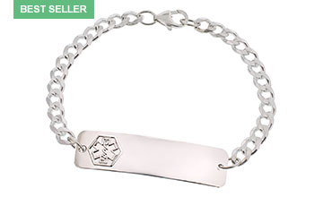 Sterling Silver Classic Medical ID Bracelet full size