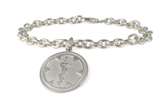 Sterling Silver Medallion Charm Medical ID Bracelet