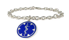 Sterling Silver Pendant Blue Charm Medical ID Bracelet