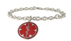 Sterling Silver Pendant Red Charm Medical Allergy Bracelet