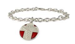 Sterling Silver Vintage Charm Medical Alert Bracelet