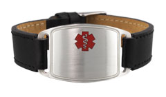 Sterling Silver Leather Flex Medical ID Bracelet