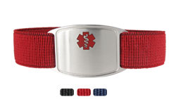 Sterling Silver Sportband Flex Red Allergy Bracelet