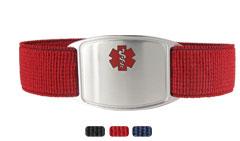 Sterling Silver Sportband Flex Red Allergy Bracelet