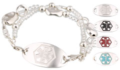 Silver Mingle Medical ID Bracelet on Reflection Band