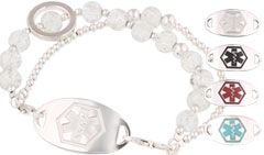 Silver Mingle Medical ID Bracelet on Bright Crystal Bead Band