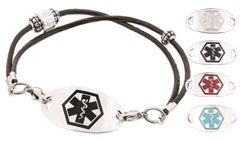 Silver Mingle Medical ID Bracelet on Western Rose Bead Band