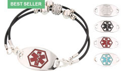 Silver Mingle Medical ID Bracelet on Montana Black Leather Band