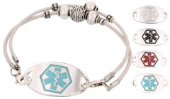Silver Mingle Medical ID Bracelet on Montana Snow Leather Band