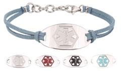 Silver Mingle on Slate Suede Medical Alert ID Bracelet