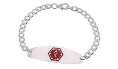 Sterling Silver Premier Medical ID Bracelet Red