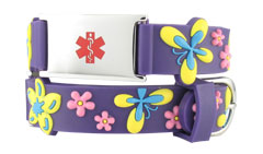 Floral Butterfly Action Child Medical ID Bracelet