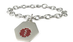Stainless Steel Small Classic Red Charm Medical ID Bracelet