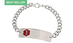 Stainless Steel Classic Red Medical Allergy Bracelet