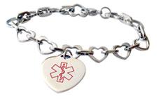 Stainless Steel Heart Link Charm Med Alert Bracelet