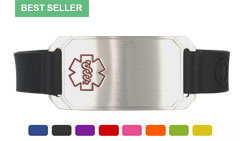 Stainless Steel Large Silicone Flex Red Outline Medical ID Bracelet