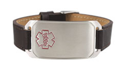 Stainless Steel Large Leather Flex Red Outline Medical ID Bracelet