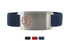 Stainless Steel Large Sportband Flex Medical Alert Bracelet with Red Outline