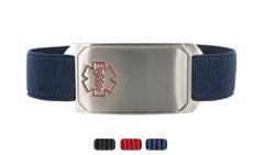 Stainless Steel Large Sportband Flex Medical Alert Bracelet with Red Outline