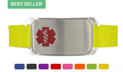 Stainless Steel Large Silicone Flex Red Medical ID Bracelet