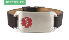 Stainless Steel Large Leather Flex Red Medical ID