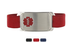 Stainless Steel Large Sportband Flex Red Medical ID Bracelet