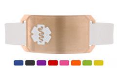 Rose Gold Large Silicone Flex Medical ID Sport Bracelet