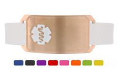 Rose Gold Large Silicone Flex Medical ID Sport Bracelet